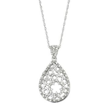 Sterling Silver 1/4 Carat T.W. Diamond Flower Teardrop Pendant