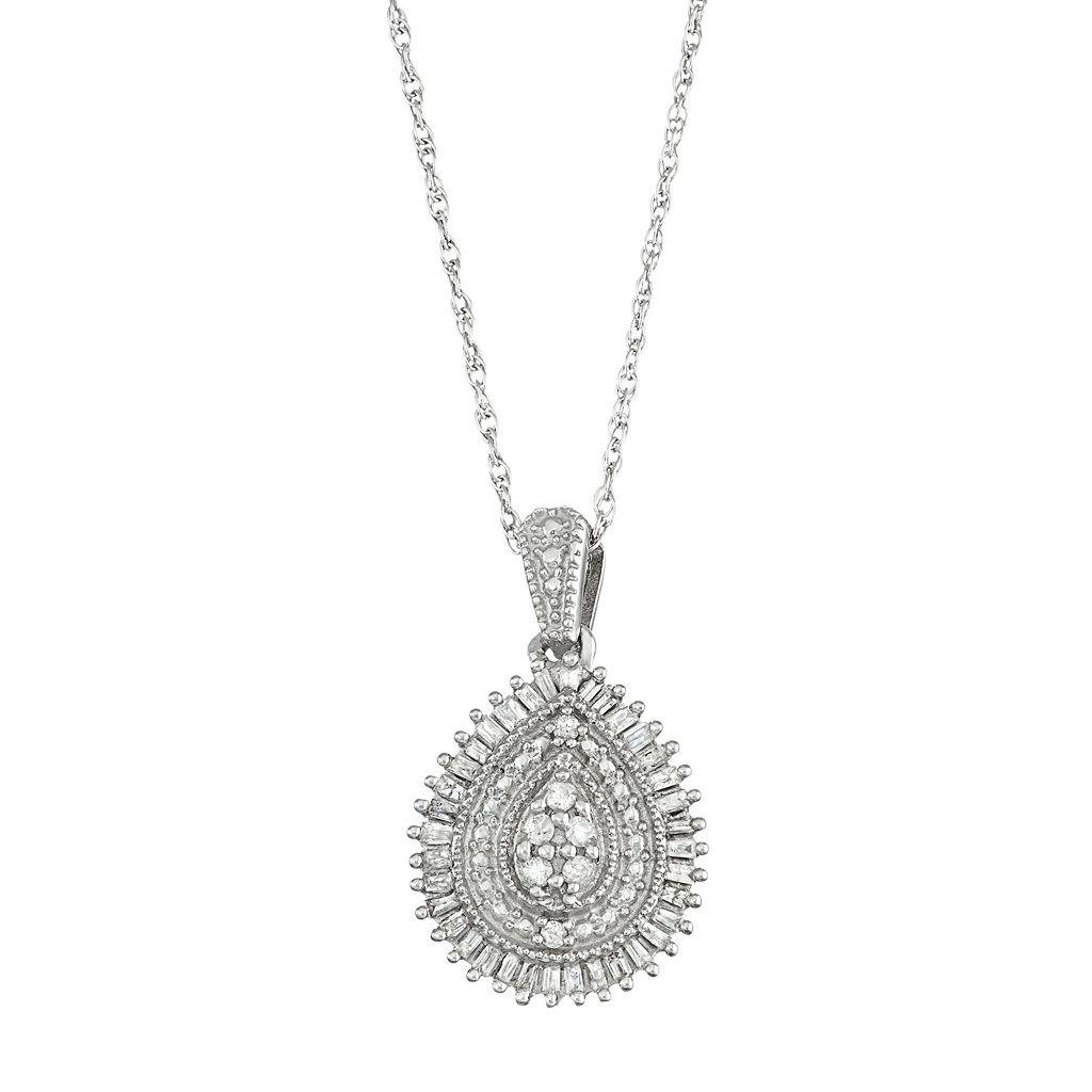 Sterling Silver 1/3 Carat T.W. Diamond Teardrop Pendant