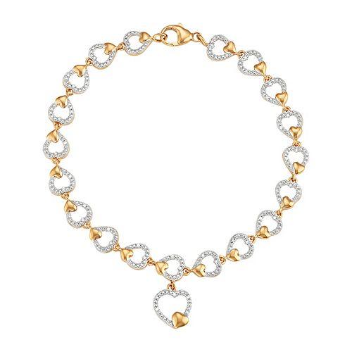 Two Tone Sterling Silver 1/8 Carat T.W. Diamond Heart Bracelet