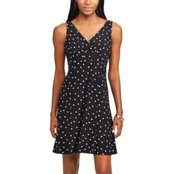 Petite Chaps Polka-Dot Fit & Flare Dress