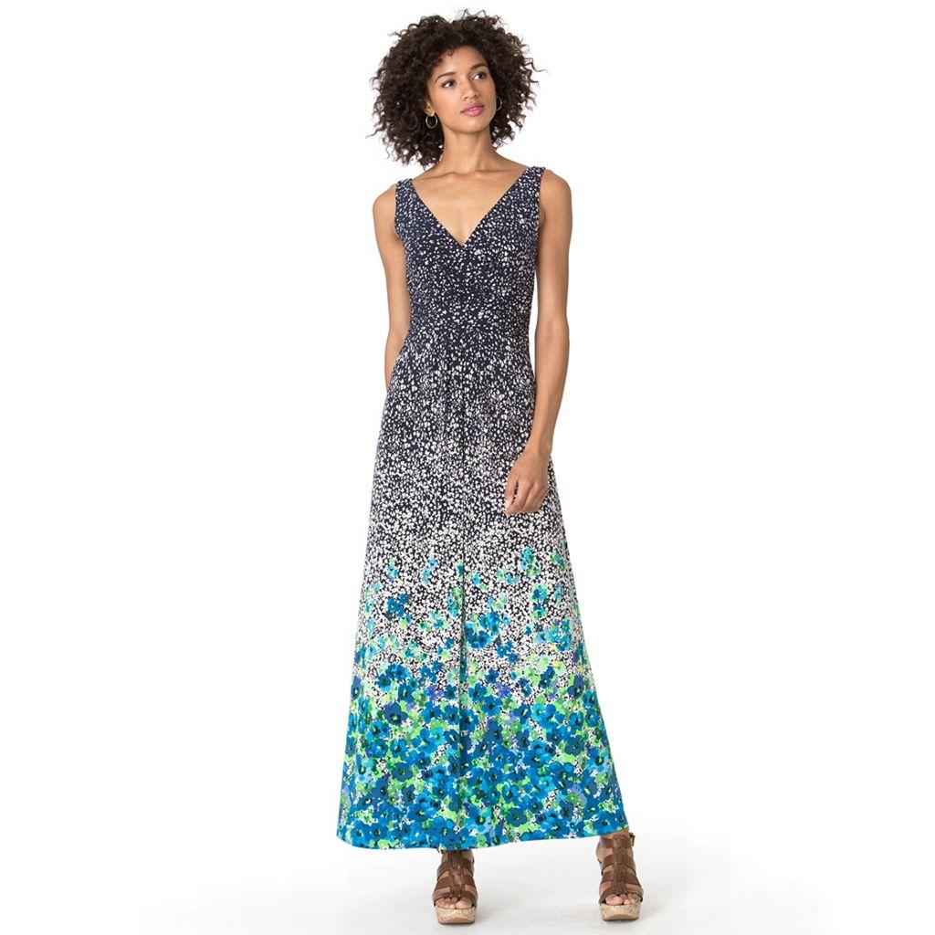 Petite Chaps Floral Empire Maxi Dress
