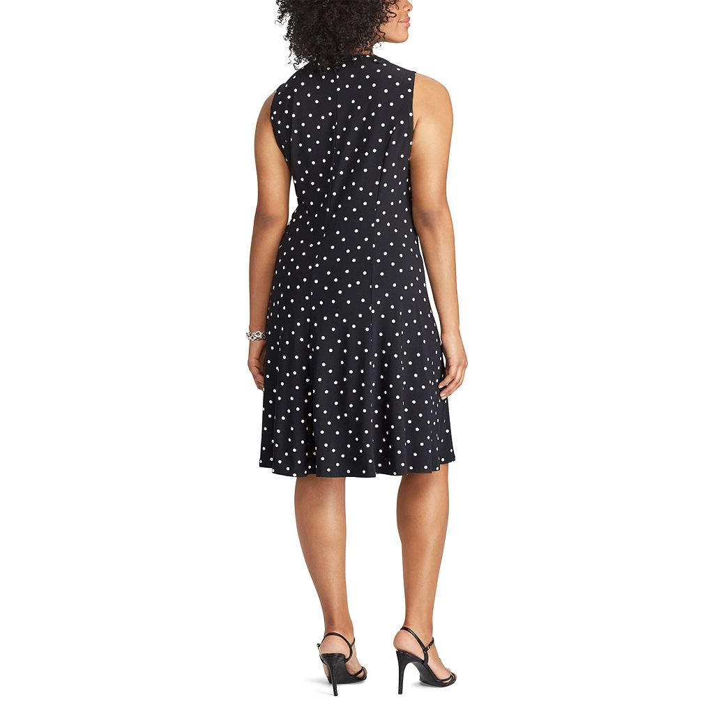 Plus Size Chaps Polka-Dot Fit & Flare Dress