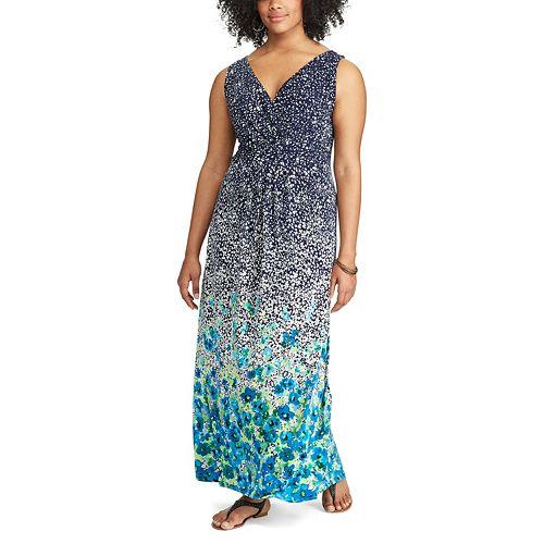 5b6dbd46663 Plus Size Chaps Floral Empire Maxi Dress