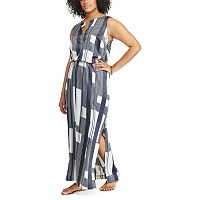 Plus Size Chaps Printed Crepe Maxi Dress