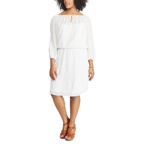 Plus Size Chaps Checkered Crepe Blouson Dress