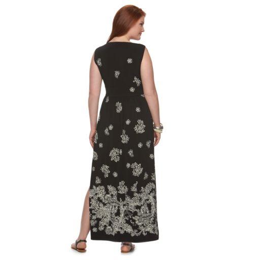 Plus Size Chaps Paisley Maxi Dress