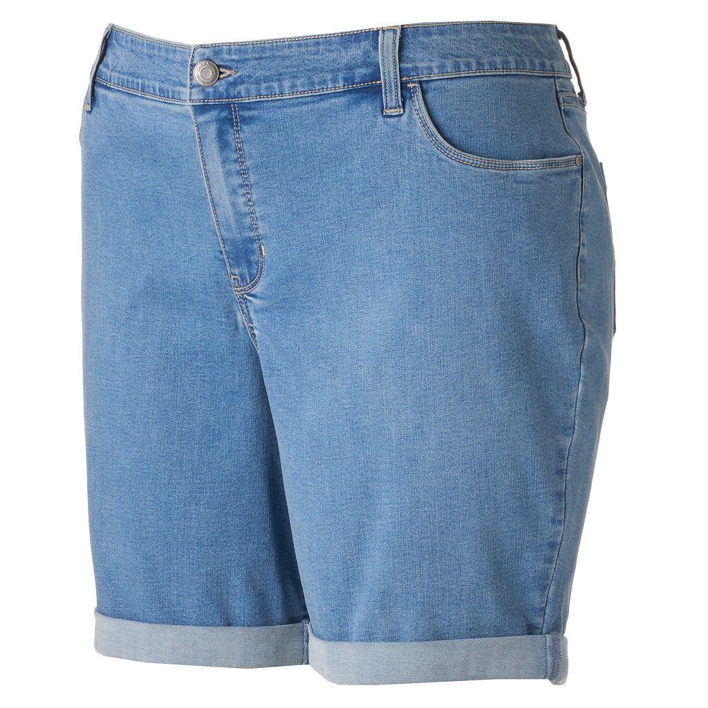 Plus Size Croft & Barrow® Striped Jean Shorts