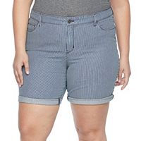 Plus Size Croft & Barrow® Striped Jean Shorts