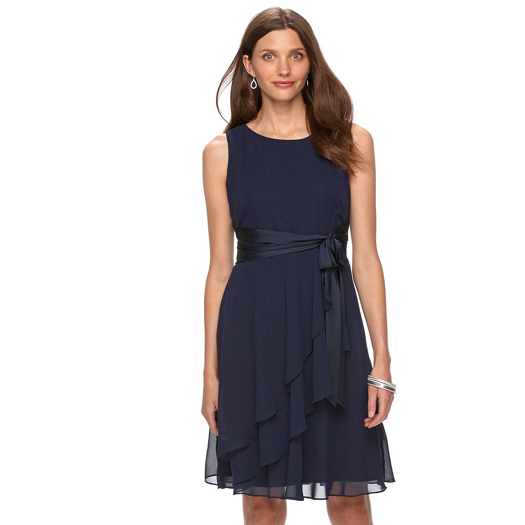Women's Chaps Chiffon Fit & Flare Evening Dress