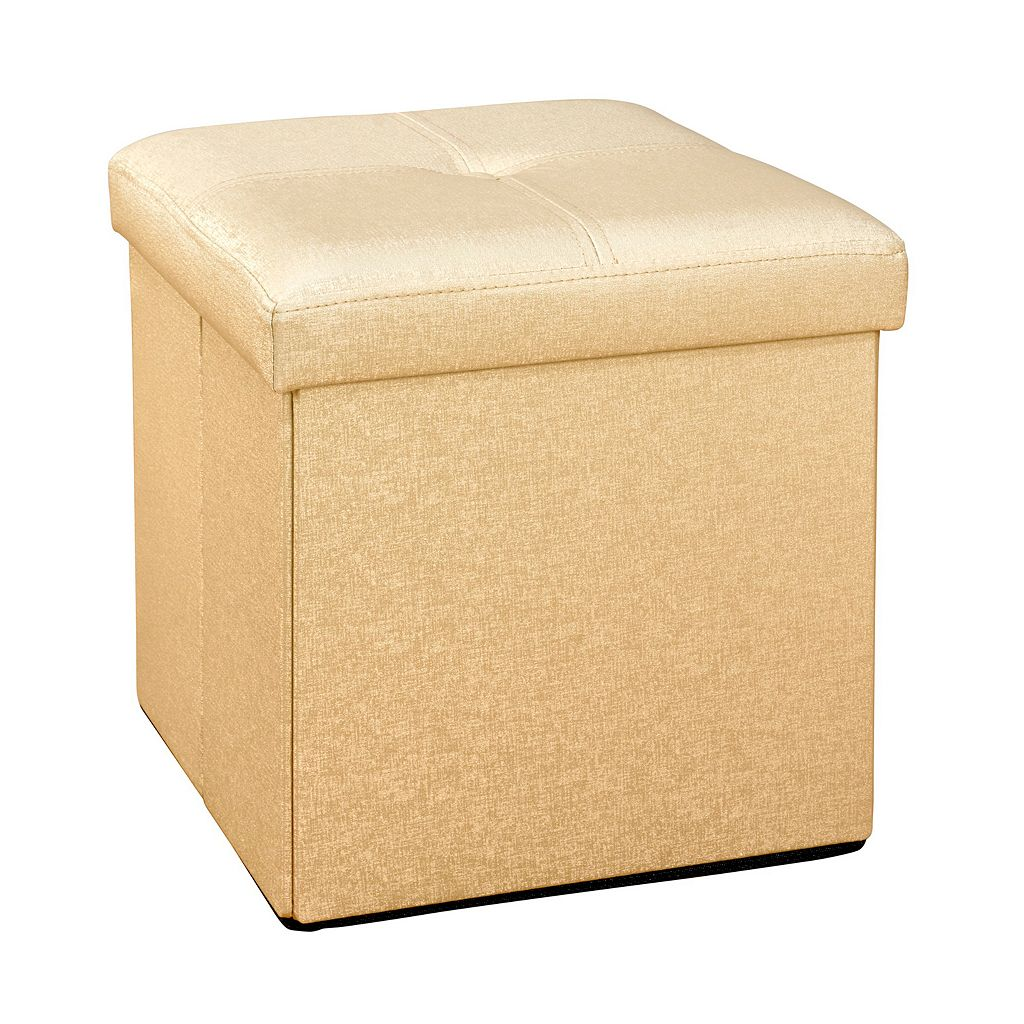 Simplify Faux Leather Folding Storage Ottoman Cube