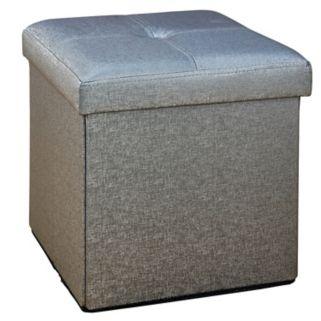 Simplify Faux Leather Folding Storage Ottoman Cube
