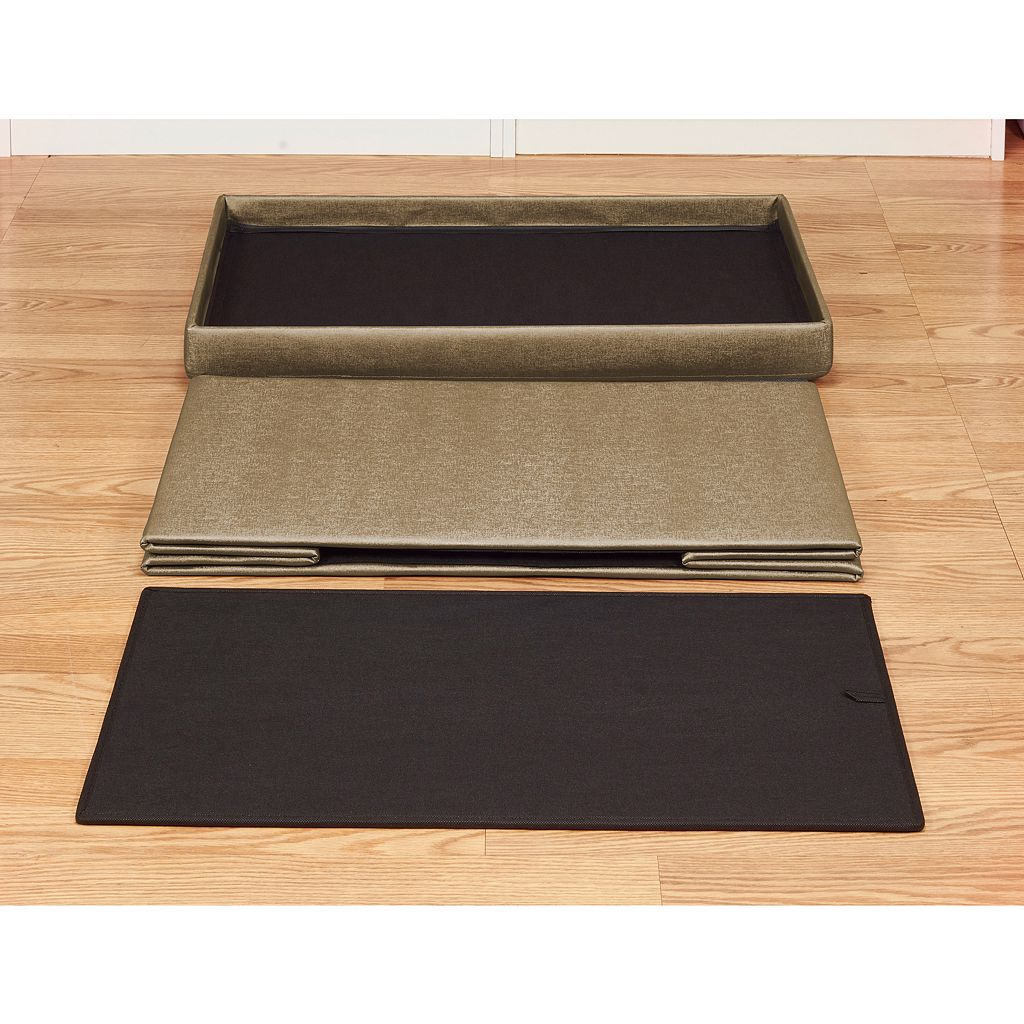 Simplify Faux Leather Double Folding Storage Ottoman