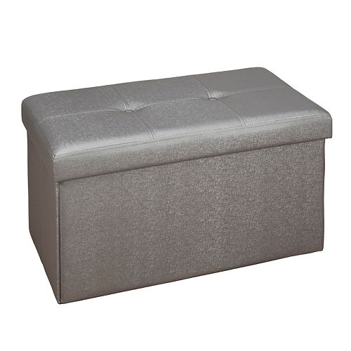 Simplify Faux Leather Double Folding Storage Ottoman