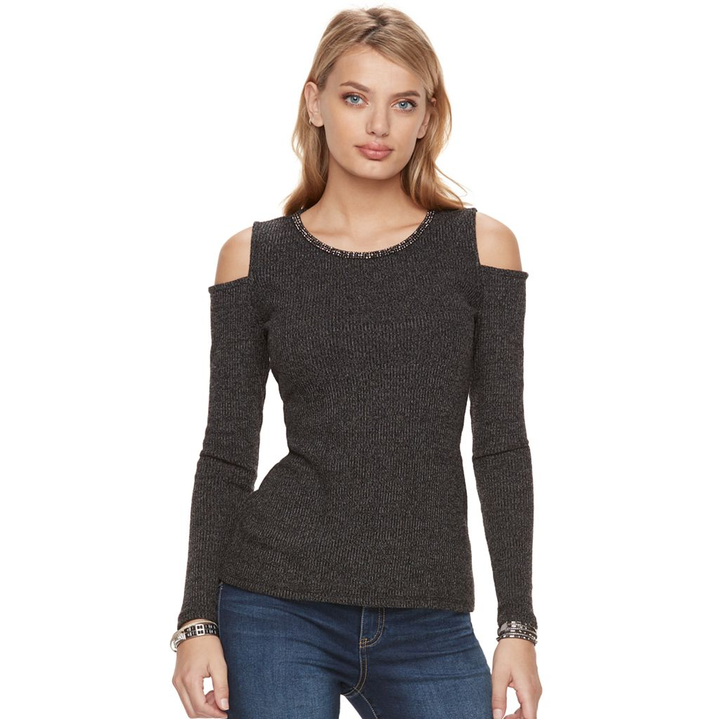 Women's Juicy Couture Embellished Cold-Shoulder Sweater