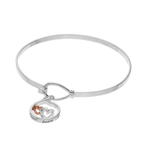 Silver Expressions by LArocks Sisters Heart Bangle Bracelet