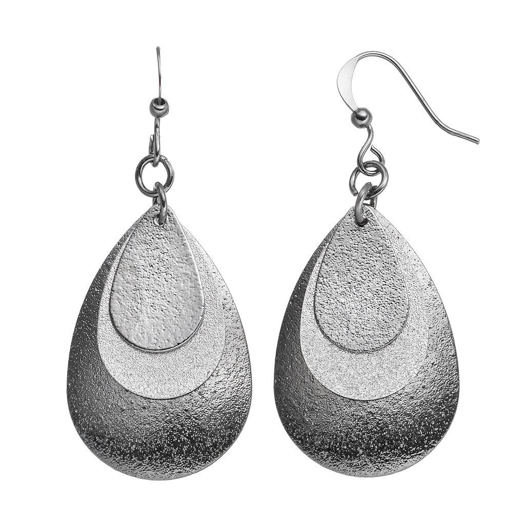 Two Tone Nickel Free Textured Triple Teardrop Earrings