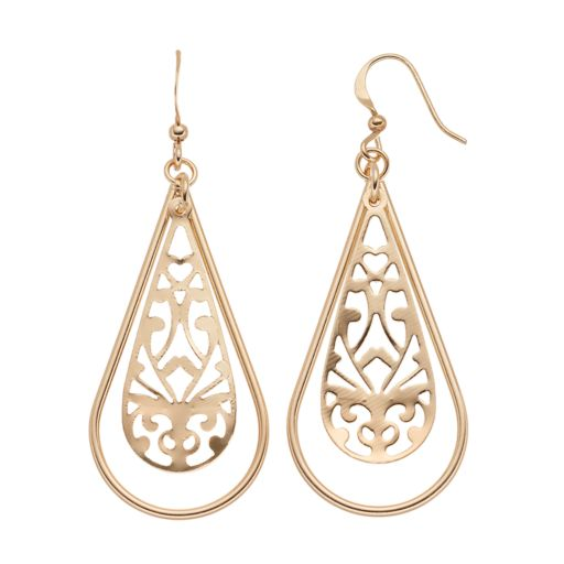 Filigree Cutout Nickel Free Teardrop Earrings