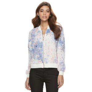 Juniors' Candie's® Reversible Lace Floral Bomber Jacket