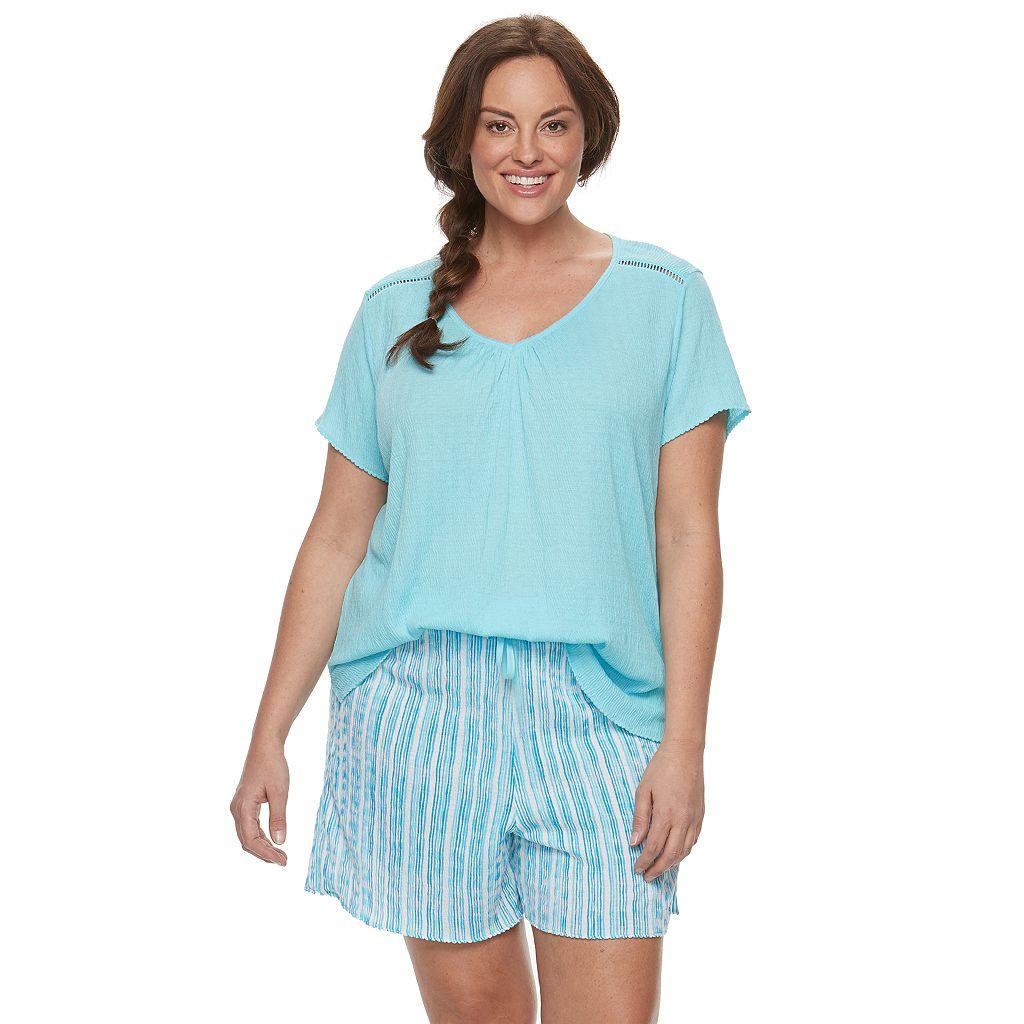 Plus Size Croft & Barrow® Pajamas: Gauze Tee & Shorts PJ Set