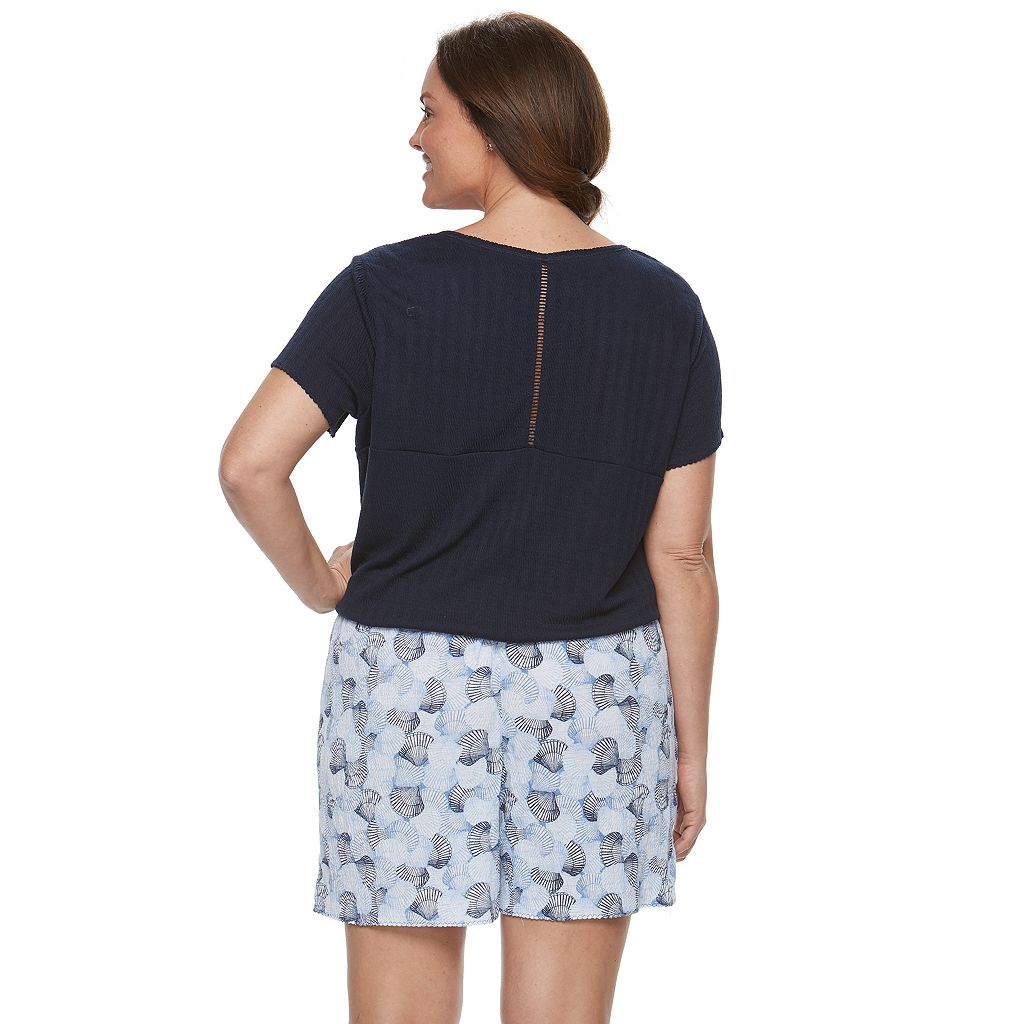 Plus Size Croft & Barrow® Pajamas: Gauze Tee & Shorts PJ Set