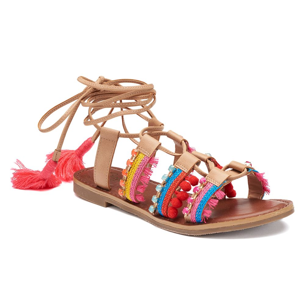 Womens sandals - Candie S Women S Lace Up Pom Pom Sandals