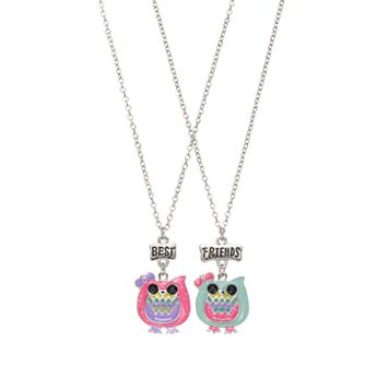 Girls 4-16 BFF Glitter Owls Necklace Set