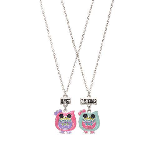 Girls 4-16 BFF Glitter Owls Necklace Set