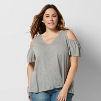 Plus Size SONOMA Goods for Life™ Cold-Shoulder V-Neck Tee