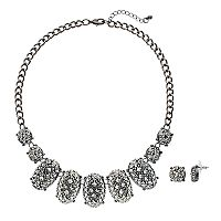 Pyramid Studded Statement Necklace & Round Drop Earring Set