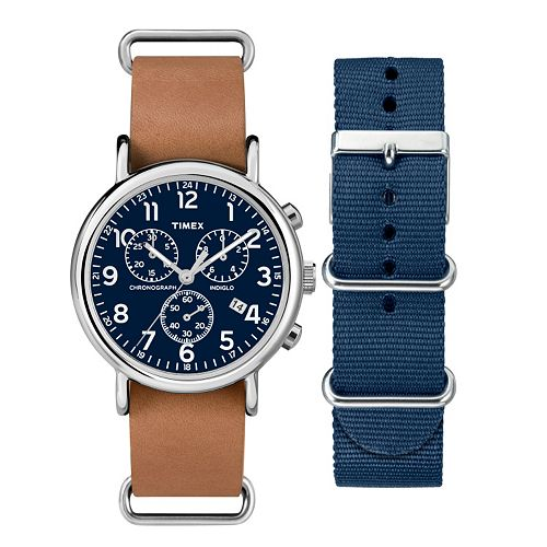 Timex Men's Weekender Chronograph Watch & Interchangeable Band Set - TWG012800QM