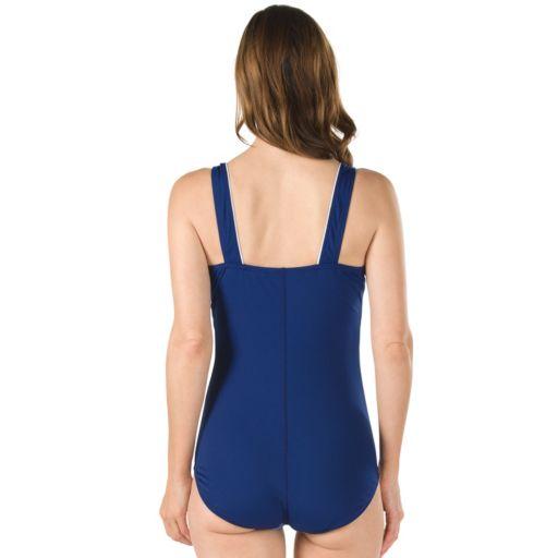 Women's Speedo Colorblock Squareneck One-Piece Swimsuit