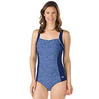 Women's Speedo Colorblock Squareneck One-Piece Swimsuit