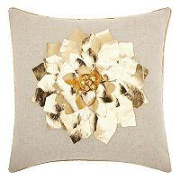 Mina Victory Home for the Holidays Metallic Poinsettia Throw Pillow