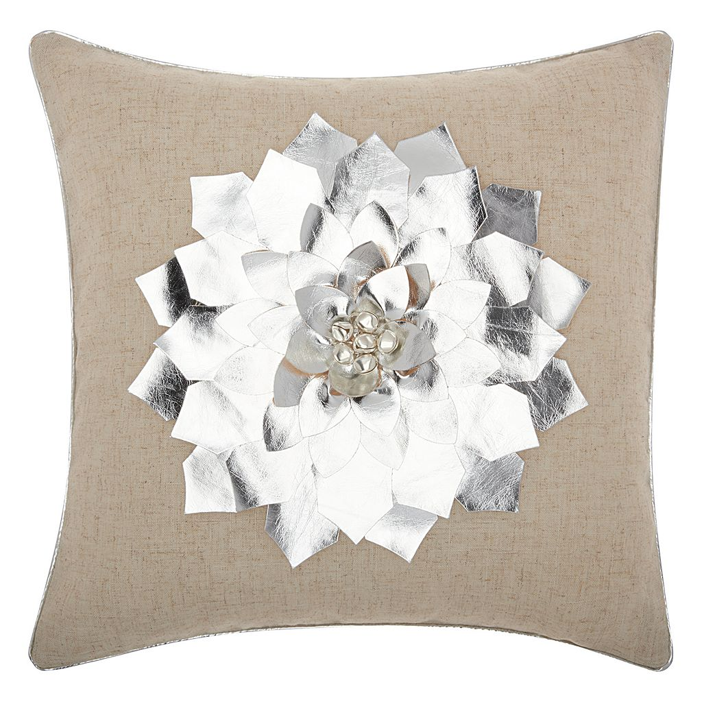 Mina Victory Home for the Holidays Metallic Poinsettia Throw Pillow