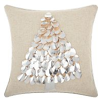 Mina Victory Home for the Holidays Metallic Tree Throw Pillow