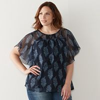 Plus Size SONOMA Goods for Life™ Printed Crinkle Chiffon Top