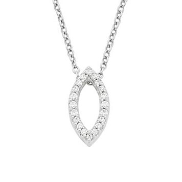 Boston Bay Diamonds 14k White Gold 1/8 Carat T.W. Diamond Marquise Pendant Necklace