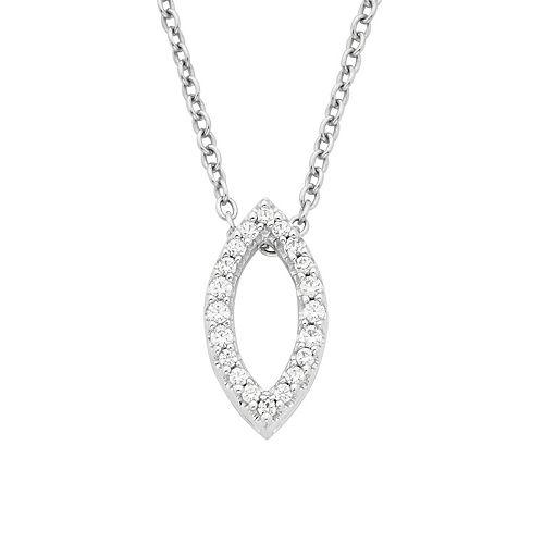 Boston Bay Diamonds 14k White Gold 1/8 Carat T.W. Diamond Marquise Pendant Necklace