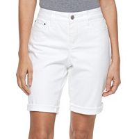 Petite Croft & Barrow® Cuffed Jean Bermuda Shorts