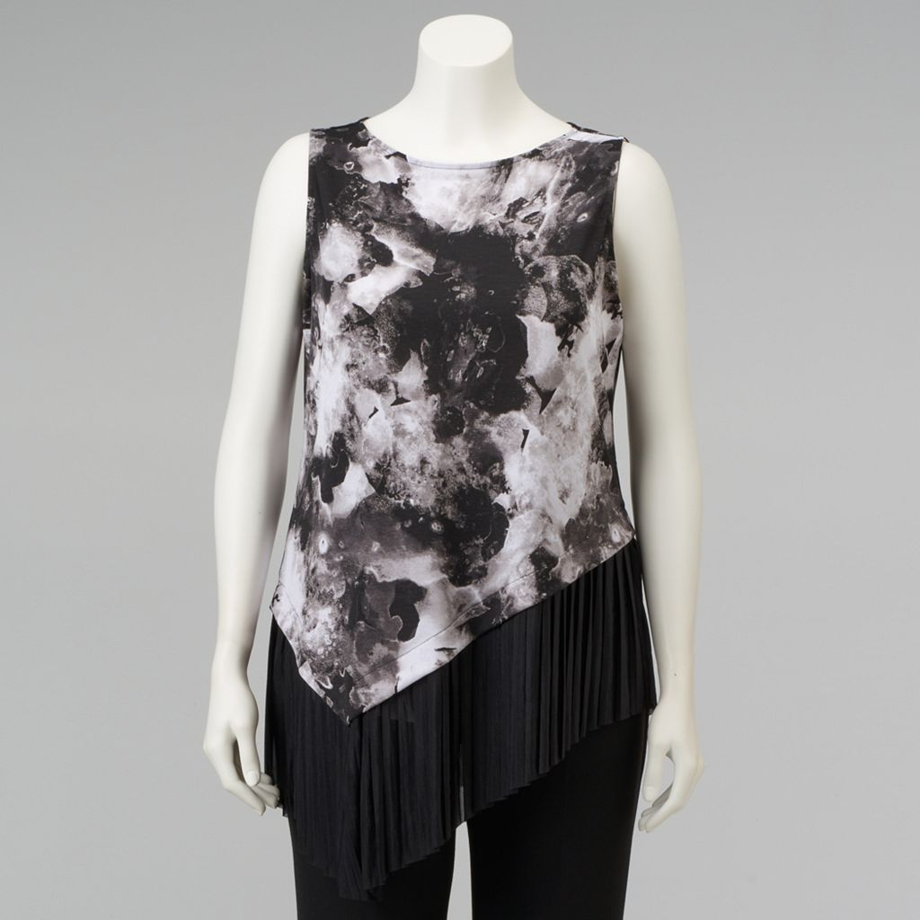 Plus Size Simply Vera Vera Wang Asymmetrical Pleated Top