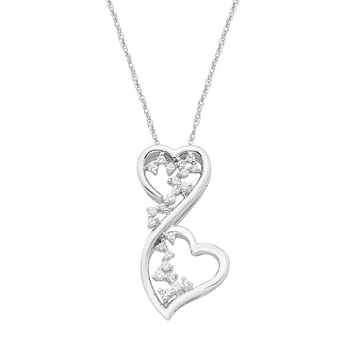 Boston Bay Diamonds 14k White Gold 1/6 Carat T.W. Diamond Double Heart Pendant Necklace