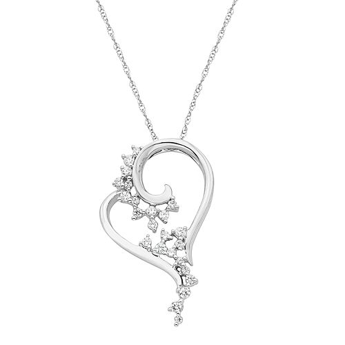 Boston Bay Diamonds 14k White Gold 1/5 Carat T.W. Diamond Heart Pendant Necklace