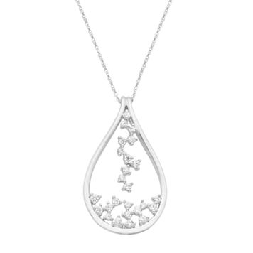 Boston Bay Diamonds 14k White Gold 3/8 Carat T.W. Diamond Teardrop Pendant Necklace