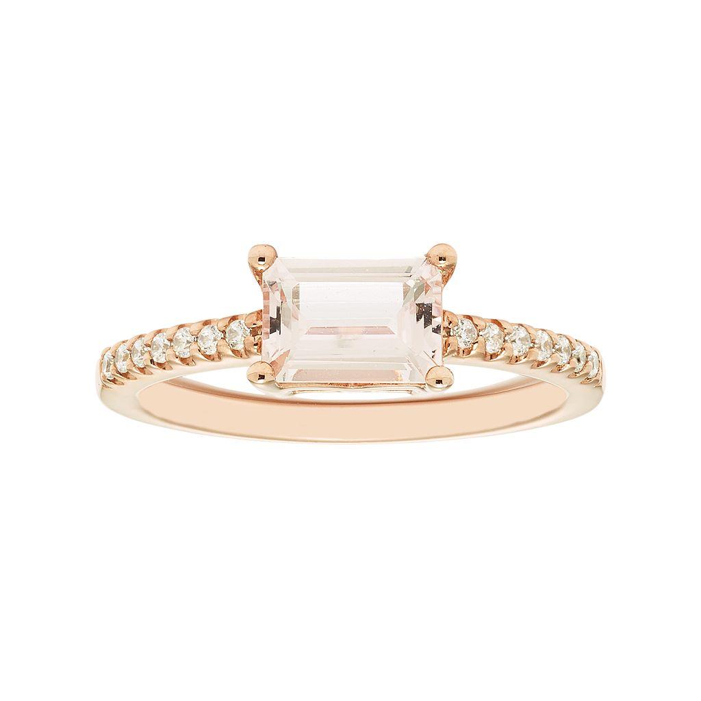 Boston Bay Diamonds 14k Rose Gold Morganite & 1/10 Carat T.W. Diamond Ring