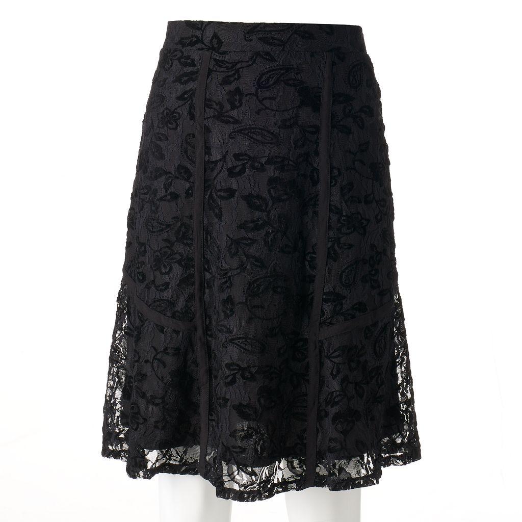 Women's Studio 253 Flocked Lace Skirt