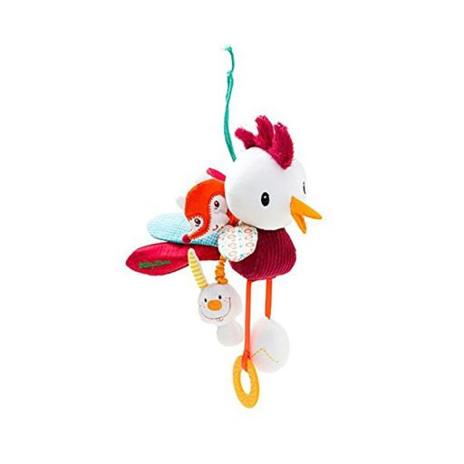 HABA Lilliputiens John Acti-Rooster Car Seat & Crib Dangling Toy