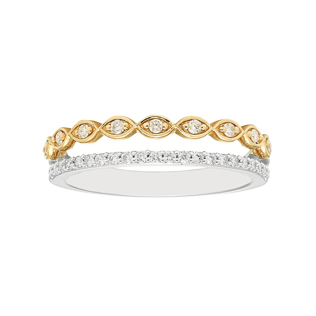 Boston Bay Diamonds Two Tone 14k Gold 1/4 Carat T.W. Diamond Marquise Stack Ring