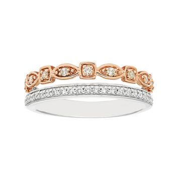Boston Bay Diamonds Two Tone 14k Gold 1/4 Carat T.W. Diamond Geometric Stack Ring