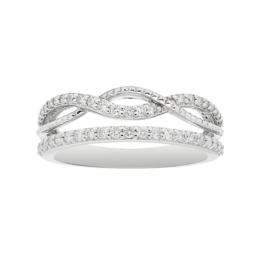 Boston Bay Diamonds 14k White Gold 3/8 Carat T.W. Diamond Infinity Stack Ring