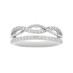 Boston Bay Diamonds 14k White Gold 3/8 Carat T.W. Diamond Infinity Stack Ring